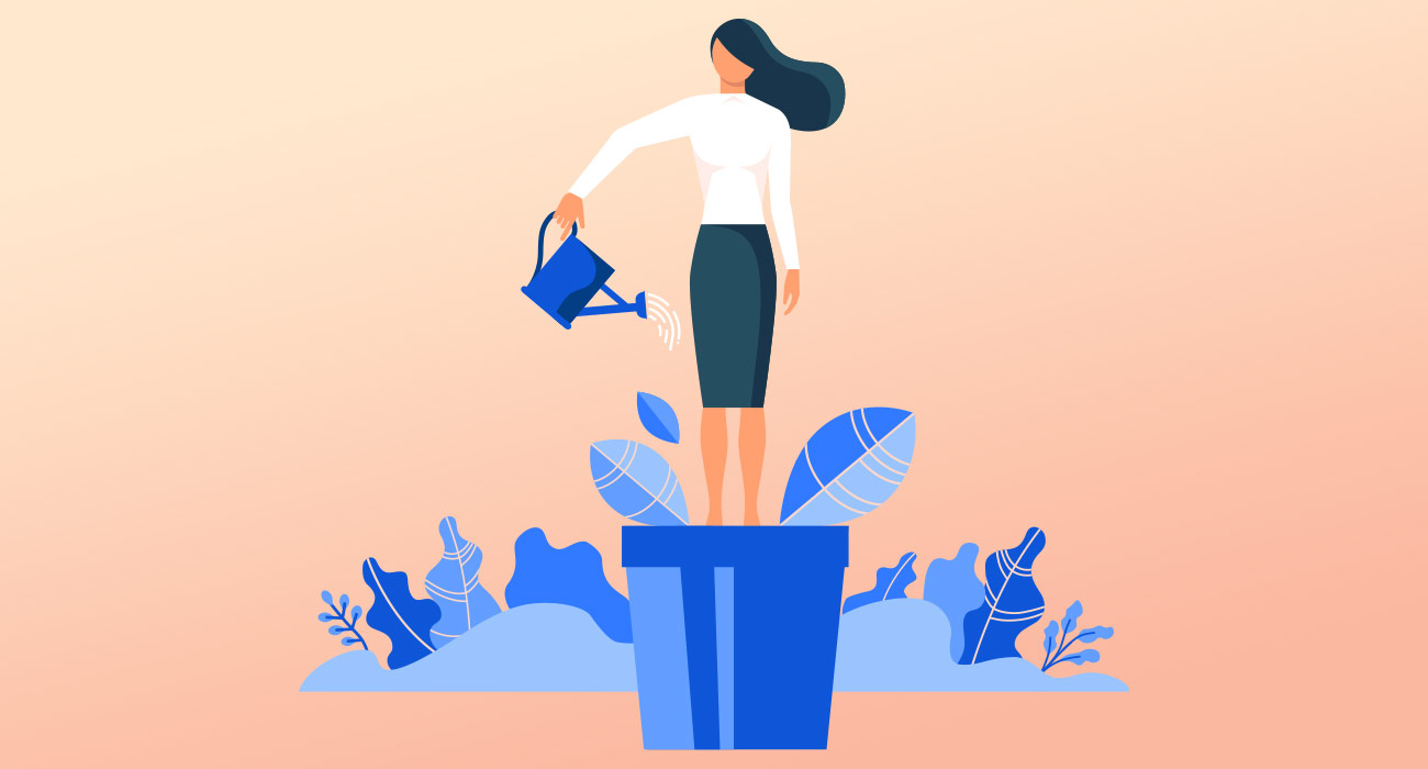 Vector graphic of a woman watering herself in a flower pot