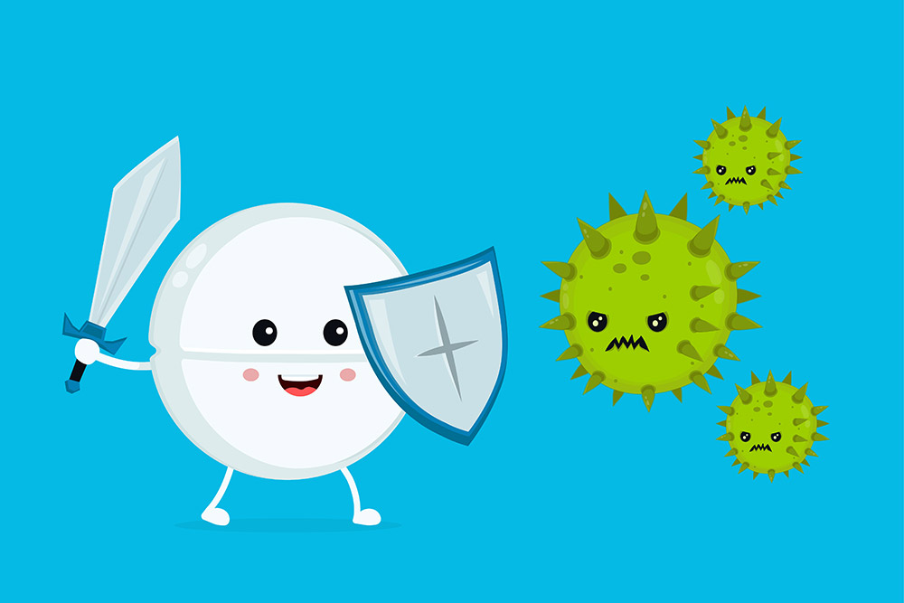 A vector image of Essence with a sword and shield combating angry, green germs