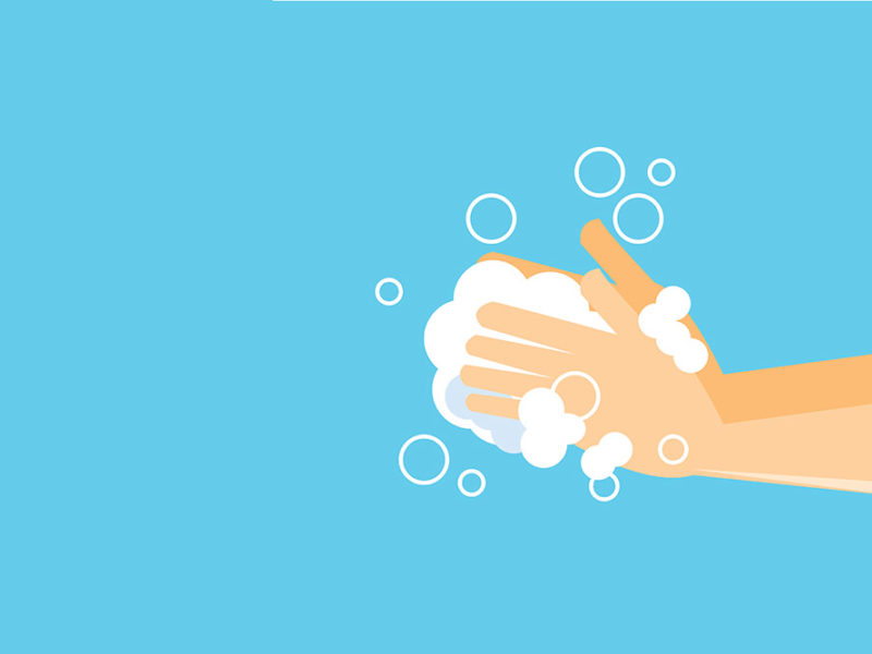 A vector image of a person washing hands with soap and bubbles