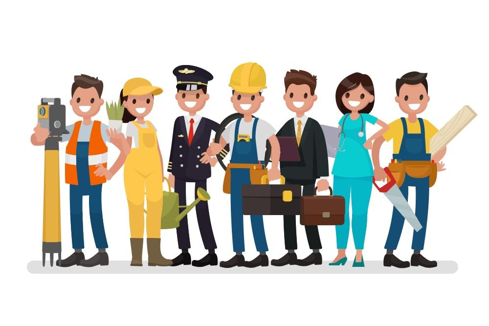 Vector graphic of different people with different professions on a white background.