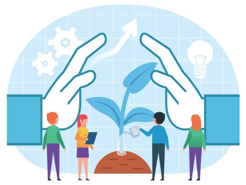 Vector graphic of small people standing near big hands protecting a plant.