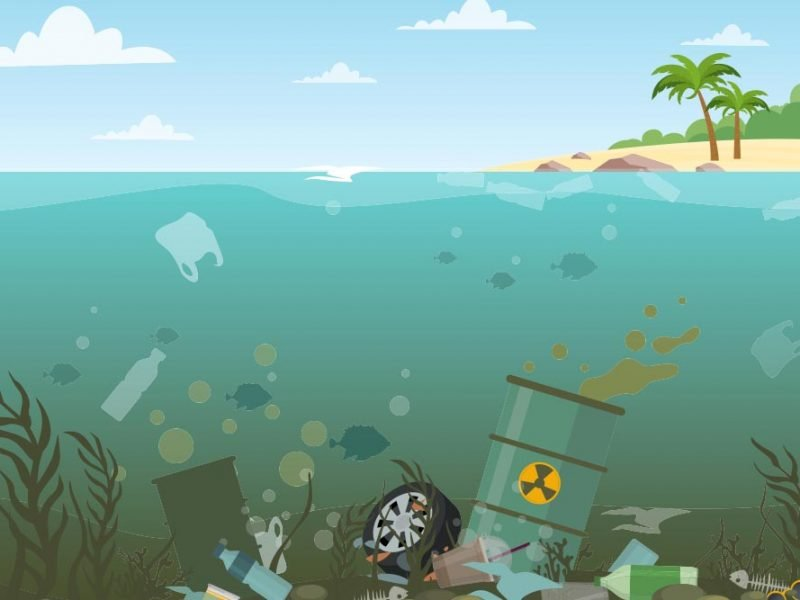 Vector graphic of toxic waste and garbage under water near a tropical island.