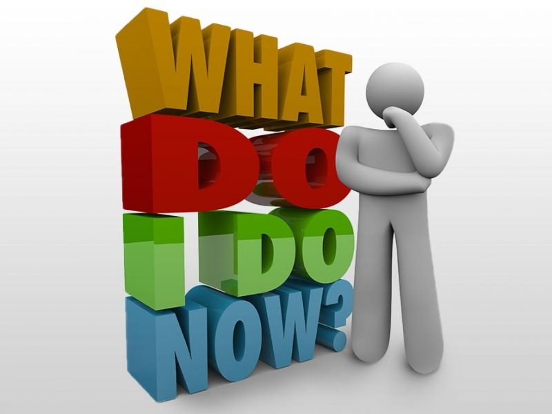 """3D vector graphic of a simple figure next to the phrase """"what do I do now?""""."""