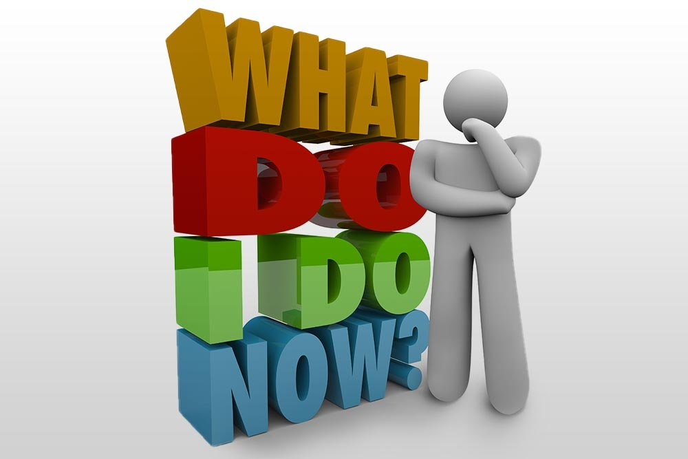 "3D vector graphic of a simple figure next to the phrase ""what do I do now?""."