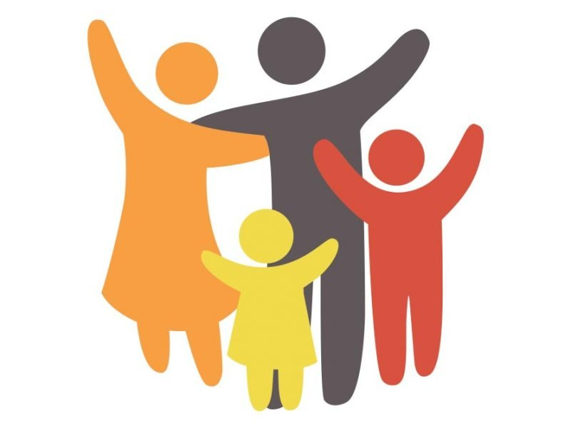 Simple multicolored vector image of a family of four.