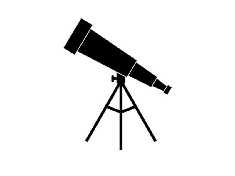 Vector image of a black telescope on a white background.