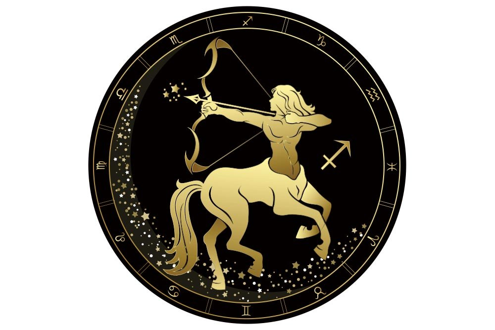 A black and gold vector graphic of a Sagittarius centaur pointing his bow and arrow towards the stars. He is enclosed by a circle surrounded by the 12 zodiac symbols.