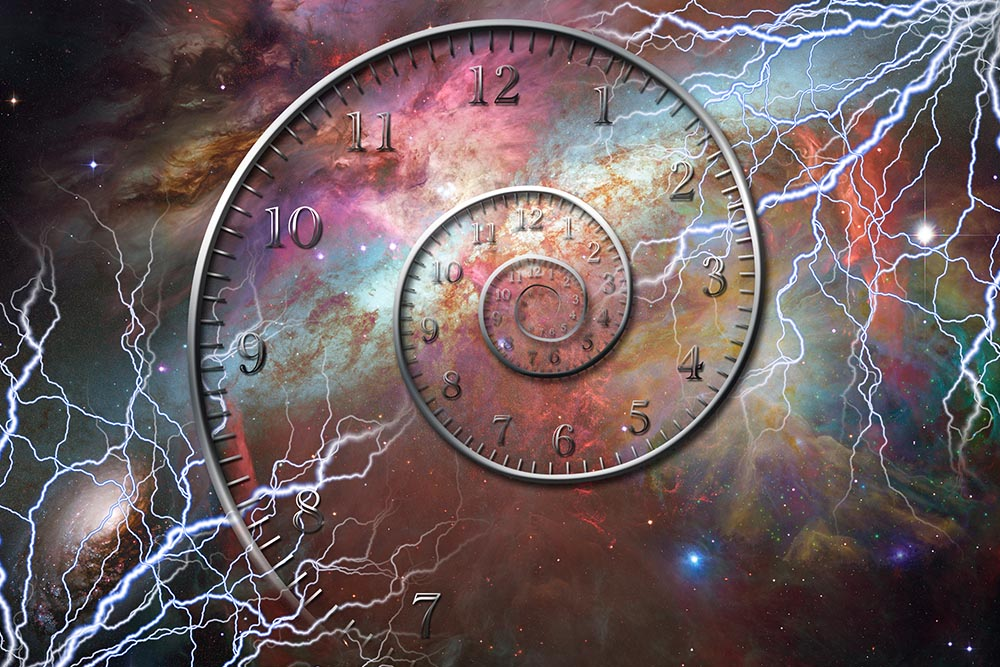 Vector image of a spiral with clock numbers surrounded by lightning bolts in space.