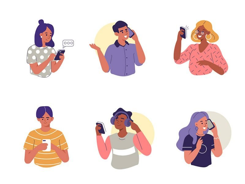 Vector image of 6 people each either watching something, listening to music, or talking on their phone