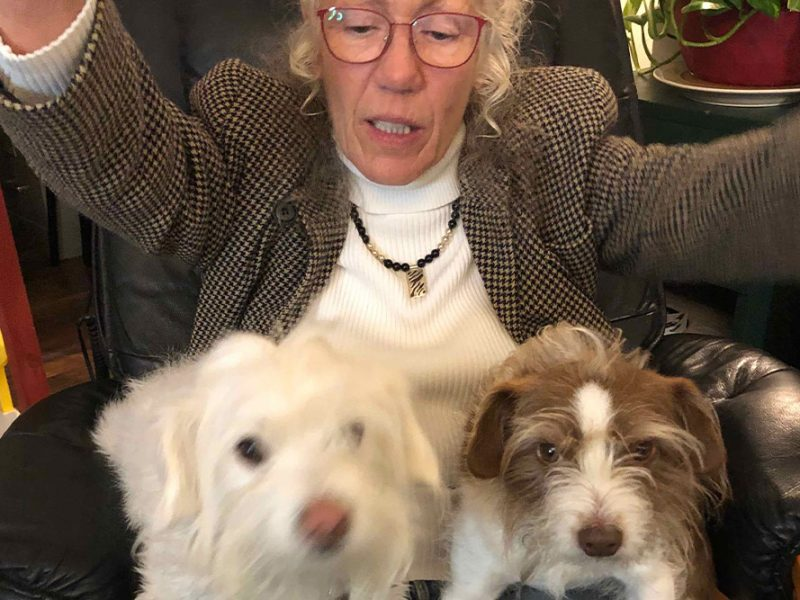 Patricia with looking down with her arms outstretched and two small dogs sitting on her lap