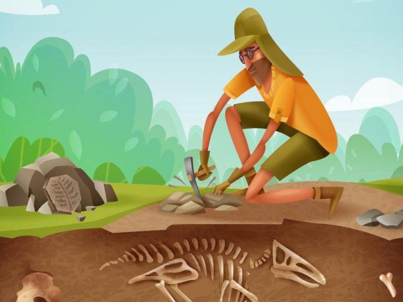 Vector image of an archaeologist digging up dinosaur bones