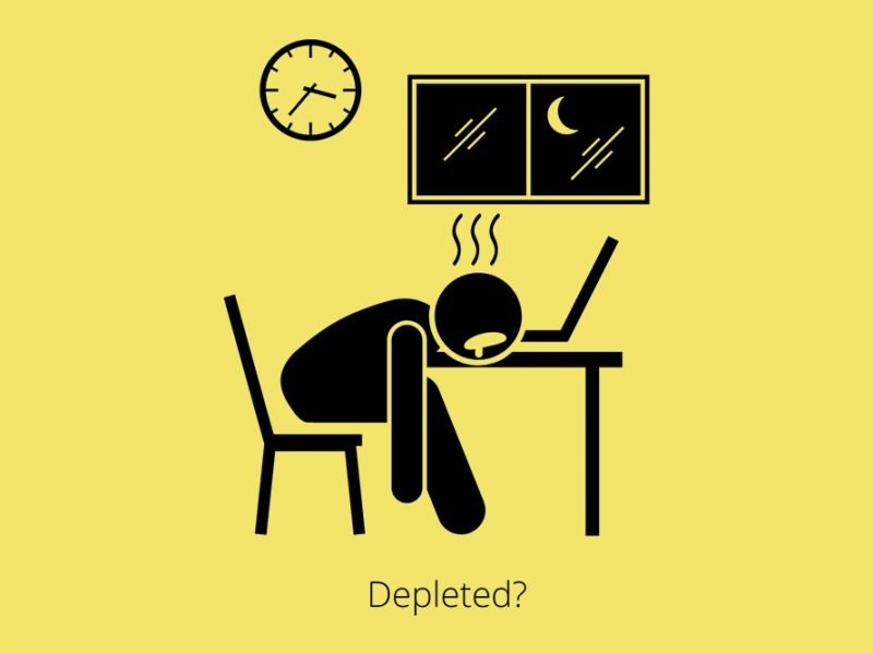 Vector image of a stick figure at a table bent over asleep on their laptop at 3:35am and the word depleted under their table
