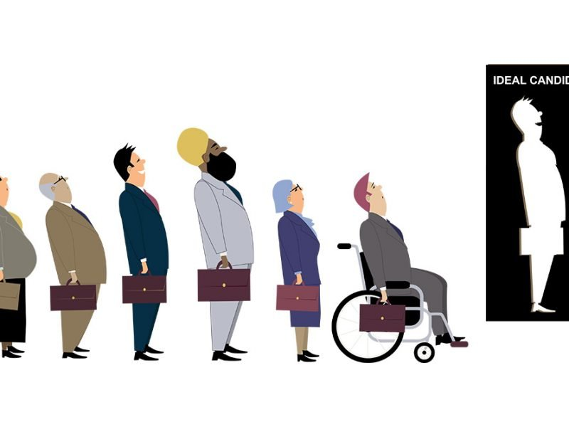 Vector image of people of varying genders, races, abilities, and ages lined up with briefcases to apply to a job behind an ideal candidate silhouette that doesn't fit them