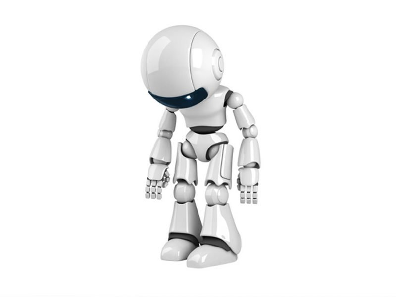Image of a small white shiny robot hunched over and looking down