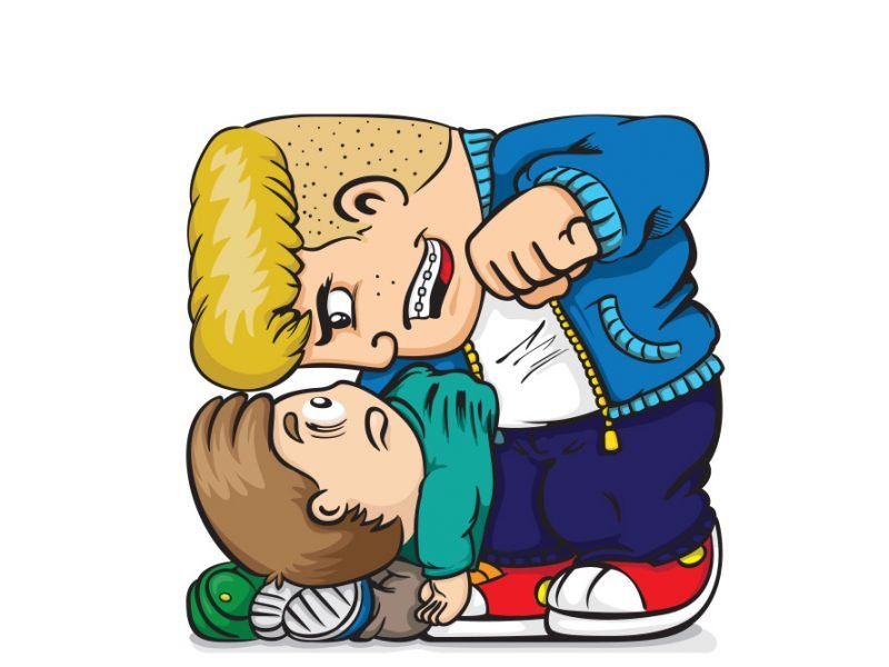 Vector image of a large boy bullying a smaller boy grabbing him by the shirt collar and threatening to punch him