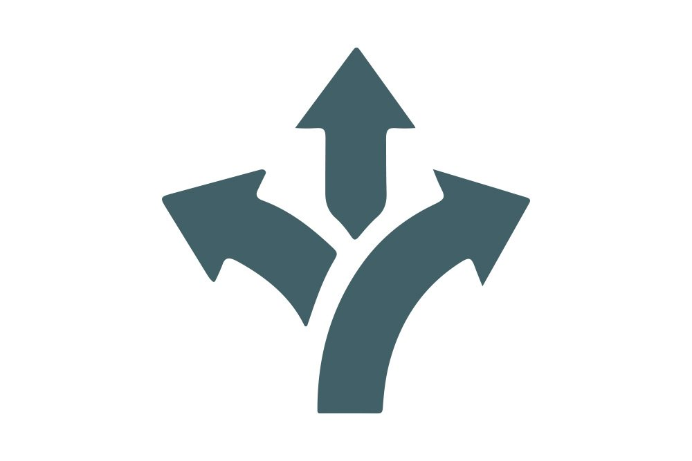Vector image of three arrows moving forward in different directions left right and upwards