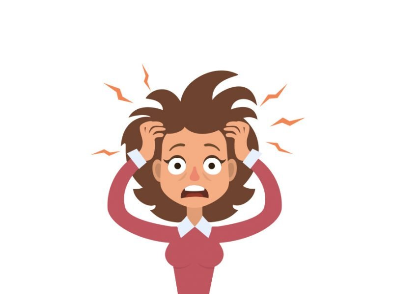 Vector image of a woman with her eyes wide and looking scared and stressed with her hair messed up with lightning bolts coming out of her head and hands in her hair