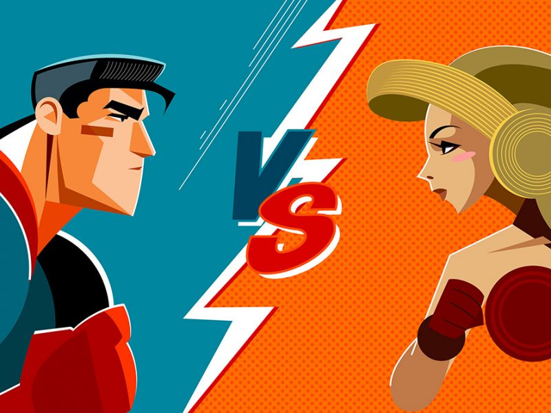 Vector image in a comic book design of a male superhero on the left vs a female superhero on the right about to fight