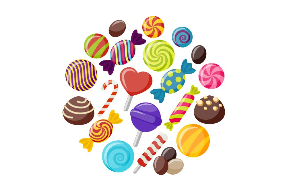 Vector image of various types of colorful candy