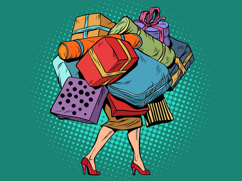Vector image of a woman walking while carrying a large number of presents and bags stacked so high she is not visible except her legs