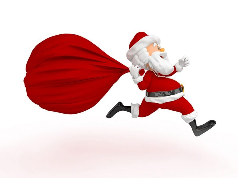 Vector image of Santa Claus running with his sack of toys
