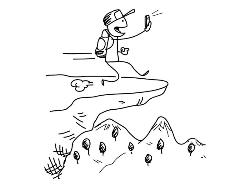 Image of a stick figure with a backpack and baseball cap on looking at a cellphone while he walks off the edge of a cliff without noticing