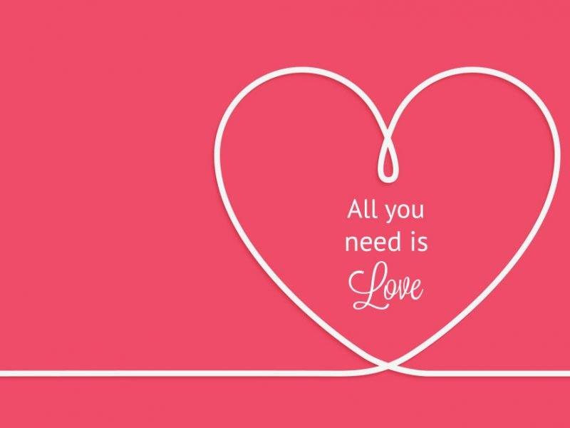 A pink background with a white line running across the bottom that curves into a heart shape before continuing in a line with the words all you need is love written in the heart