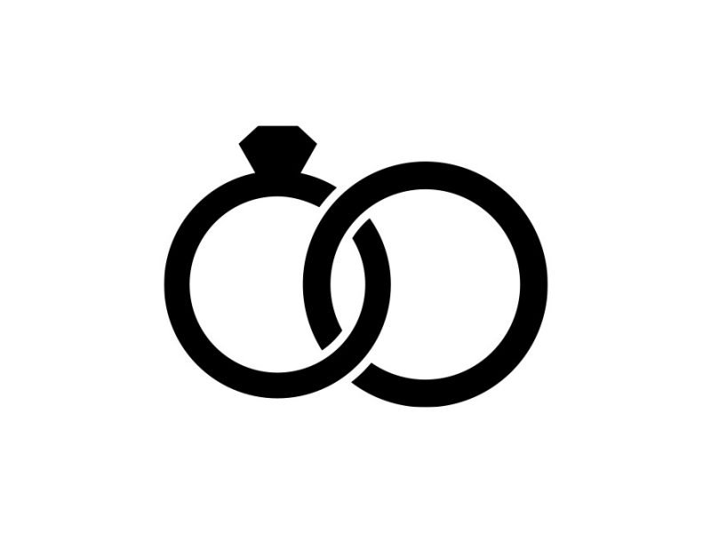 Vector image of a wedding ring with a diamond and a circle entwined together together