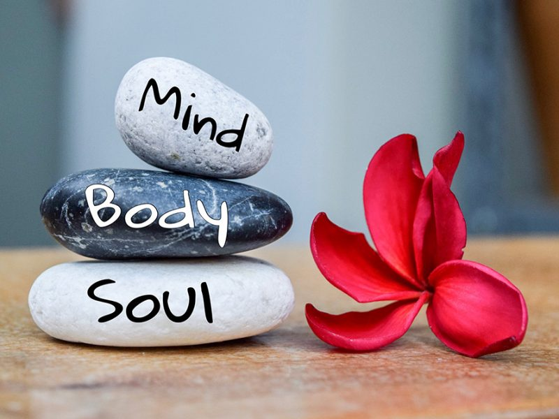 Three stacked river rocks with the words mind, body, and soul written on each next to a red plumeria flower