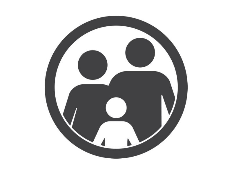 Vector image of stick figure silhouette of a family of three with a circle around the image