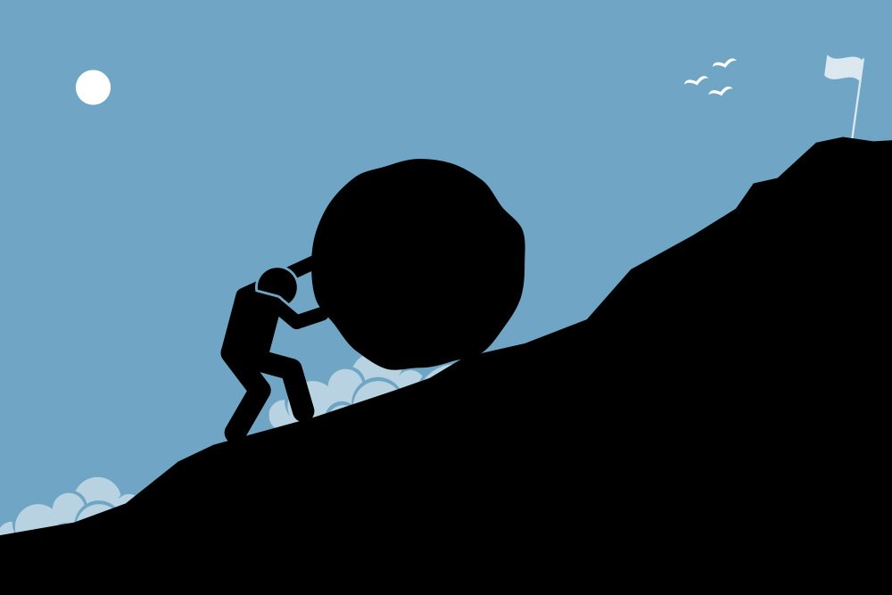 Vector image of a stick figure struggling to push a large boulder up a rocky and steep mountain with a white flag far upwards in the distance