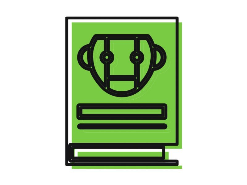 Vector image of an abstract green colored book with a robot face on the front