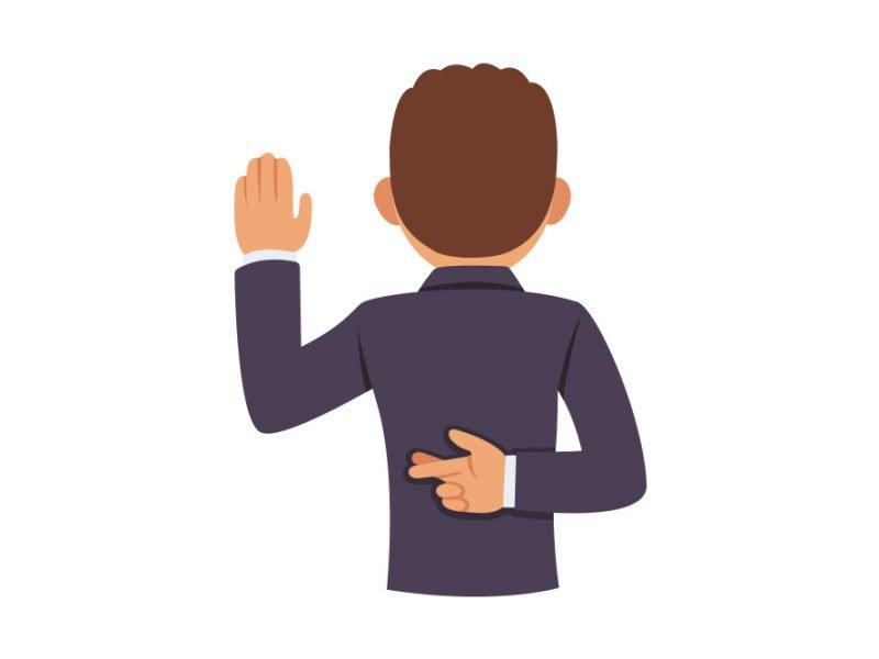 Vector image of a man raising his left hand to swear truth with his right hand behind his back and fingers crossed