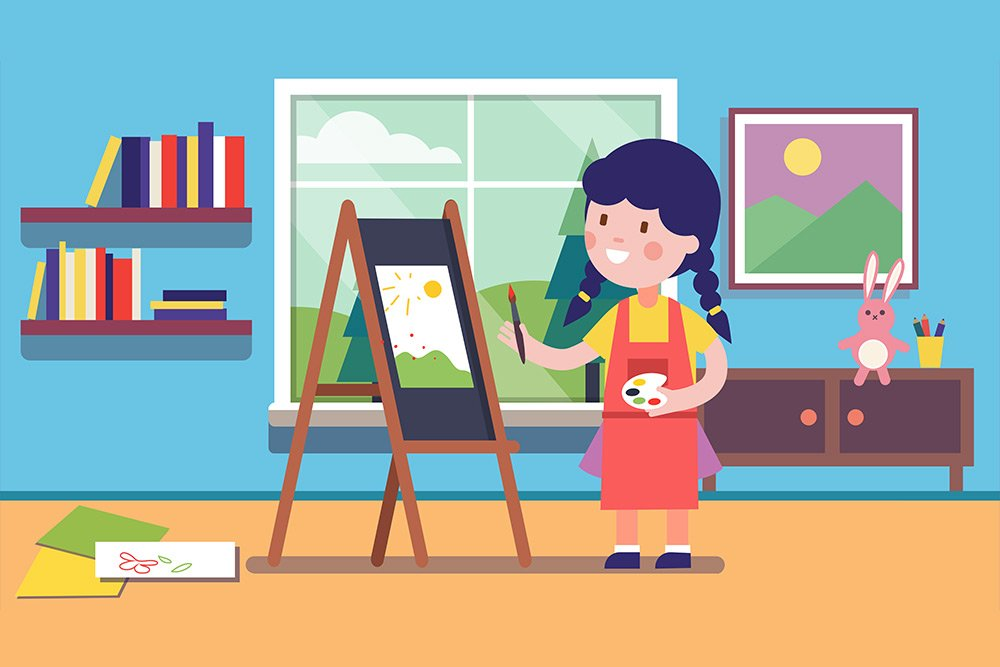 Vector image of a young girl in her bedroom wearing an apron and painting an image on an easel