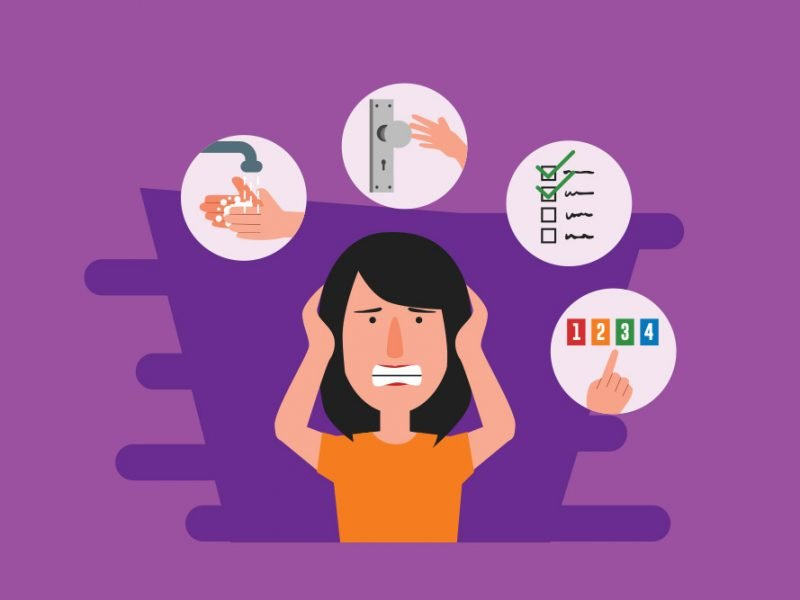Vector image of a woman gritting her teeth and holding her head stressed thinking about handwashing, touching doorknobs, lists, and numbers