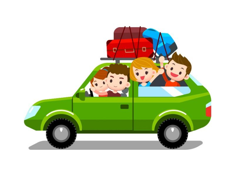 Vector image of a family taking a road trip with suitcases on top of the car and the kids cheering out of the back window